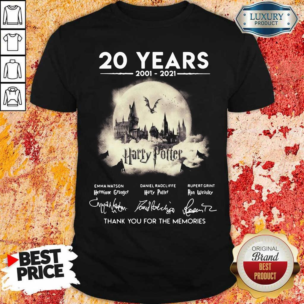 Apprehensive 20 Years 2001 2021 Harry Potter Thank You For The Memories Signatures Shirt - Design by Eushirt.com