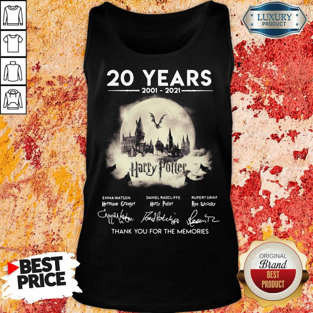 Apprehensive 20 Years 2001 2021 Harry Potter Thank You For The Memories Signatures Tank Top - Design by Eushirt.com
