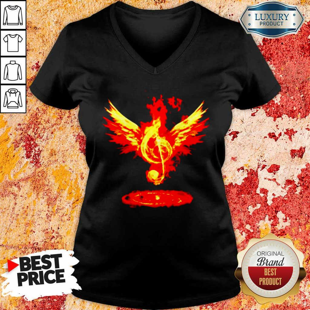 Cheated 4 Music Note Fire Angel V-neck