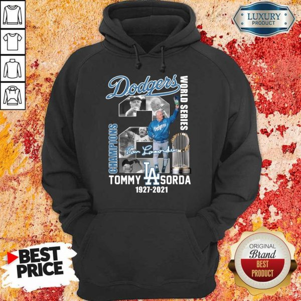 Cross LA Dodgers World Series Champions 2 Tommy Lasorda Hoodie - Design by Eushirt.com