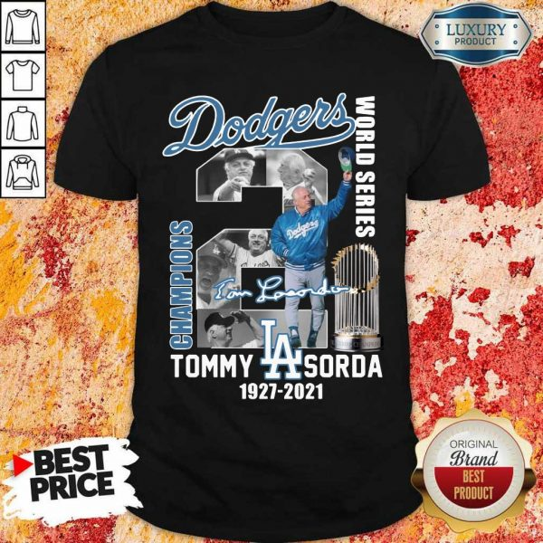 Cross LA Dodgers World Series Champions 2 Tommy Lasorda Shirt - Design by Eushirt.com