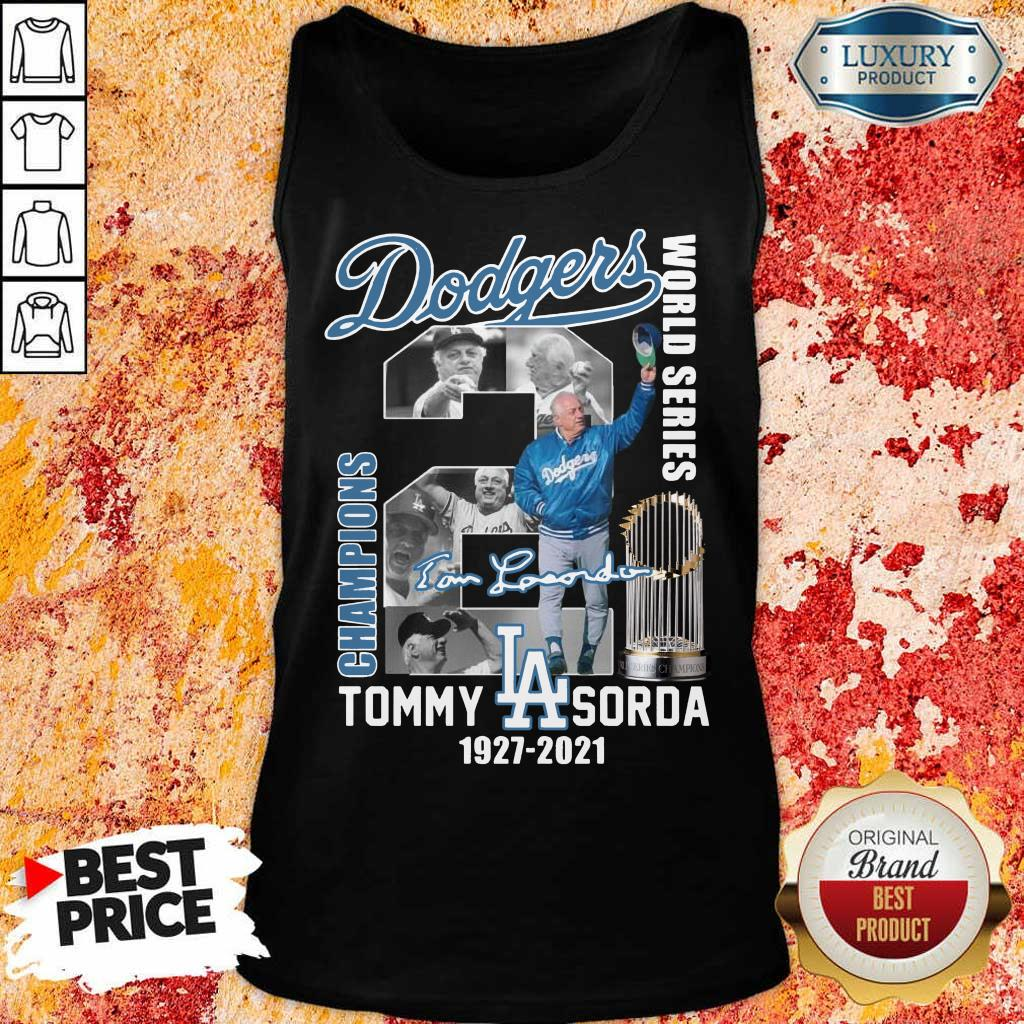 Cross LA Dodgers World Series Champions 2 Tommy Lasorda Tank Top - Design by Eushirt.com