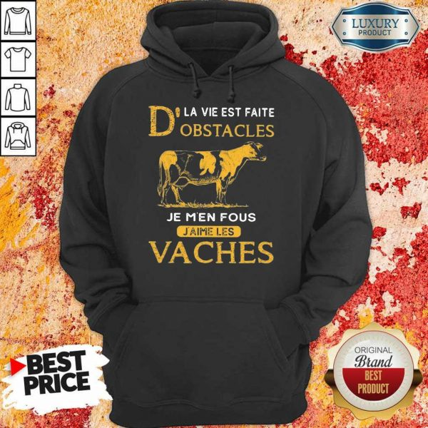 Depressed Dla Vie Est Faite Obstacles Je 3 Men Fous Jaime Les Vaches Cow Hoodie - Design by Eushirt.com