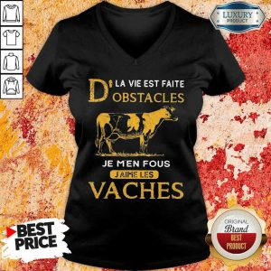 Depressed Dla Vie Est Faite Obstacles Je 3 Men Fous Jaime Les Vaches Cow V-neck - Design by Eushirt.com