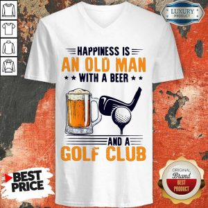 Great Is An Old Man With A Beer And A Golf Club 8 V-neck