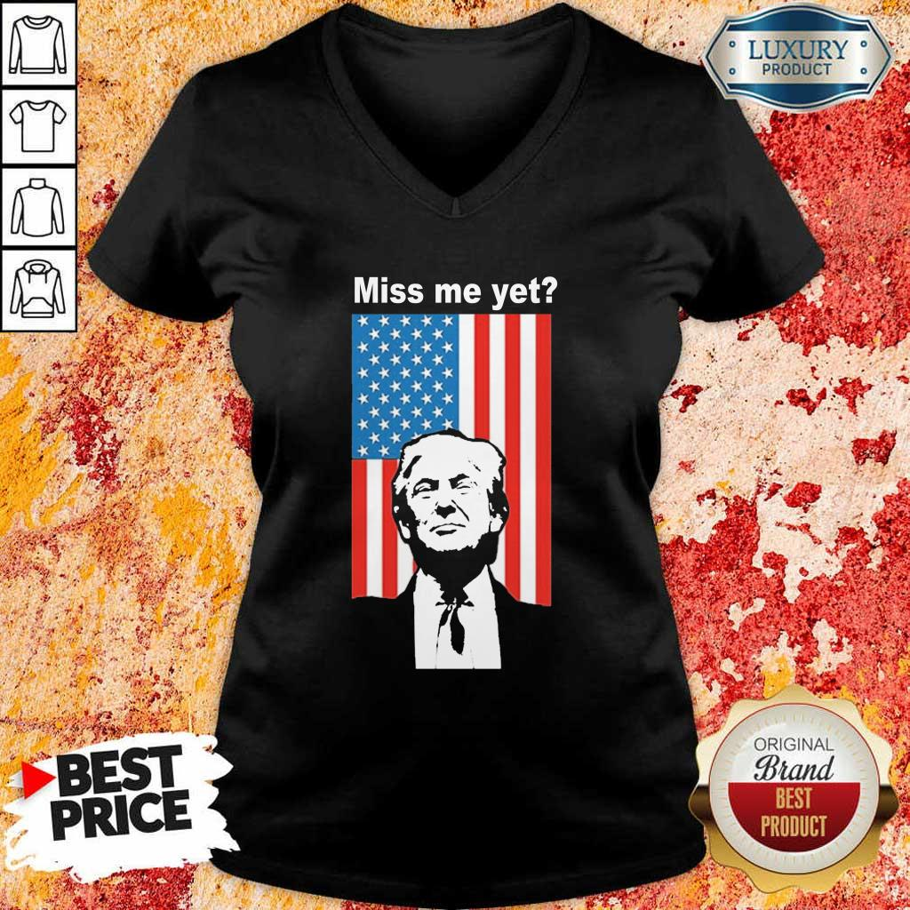 Happy Miss Me Yet Trump 1 American Flag V-neck - Design by Eushirt.com