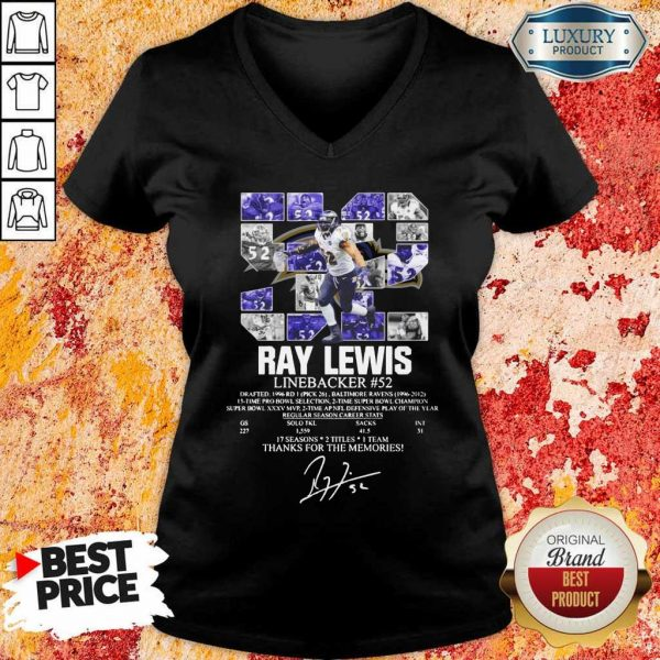 Thoughtful 52 Ray Lewis Linebacker Thanks For The 2 Memories V-neck - Design by Eushirt.com