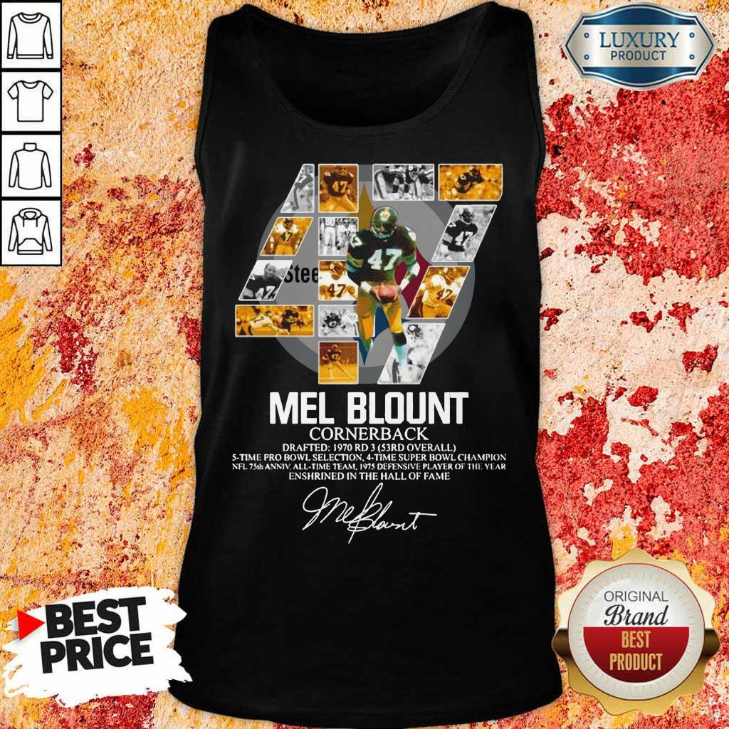Upset 47 Mel Blount Cornerback Enshrined The Hall Of Fame 1 Signature Tank Top - Design by Eushirt.com