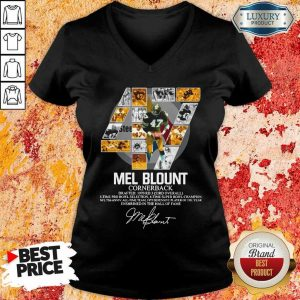 Upset 47 Mel Blount Cornerback Enshrined The Hall Of Fame 1 Signature V-neck - Design by Eushirt.com