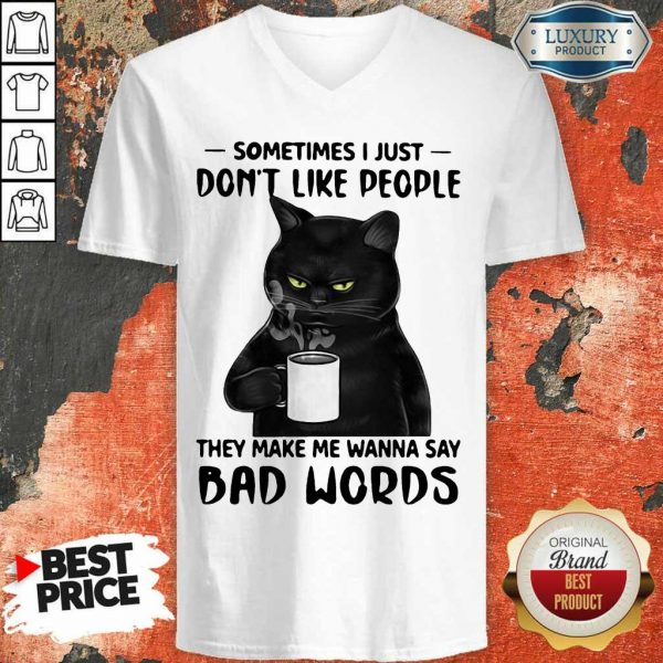 Official Black Cat They Say Bad Words V-Neck