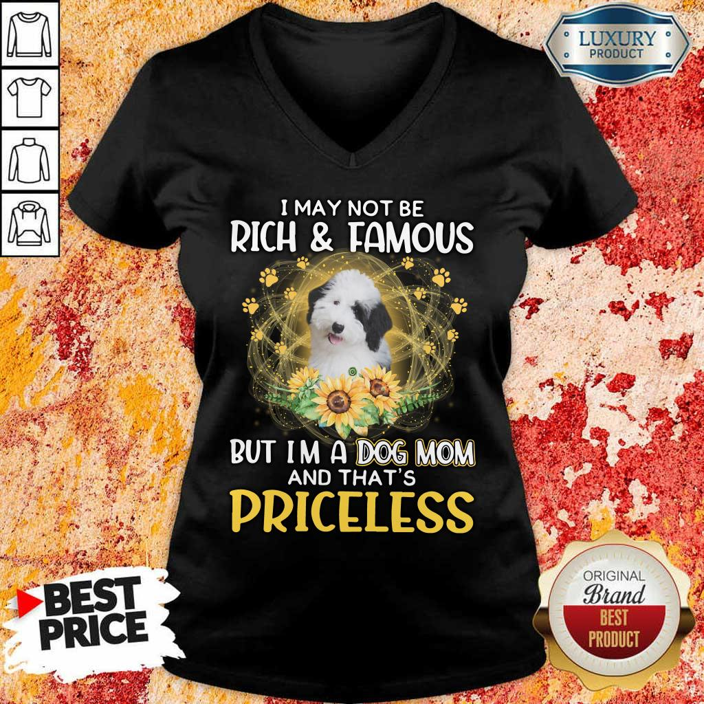 Good Sheepadoodle I May Not Be Rich And Famous But I Am A Dog Mom And That Is Priceless V-Neck