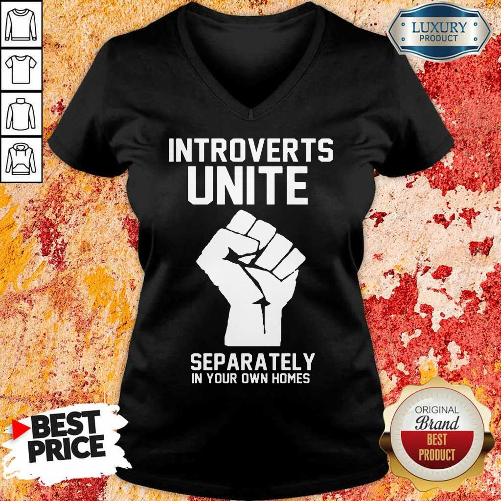Hand Introverts Unite Separately Own Homes V-Neck