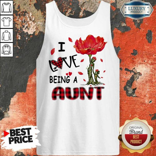 I Love Being An Aunt Red Flower Tank Top