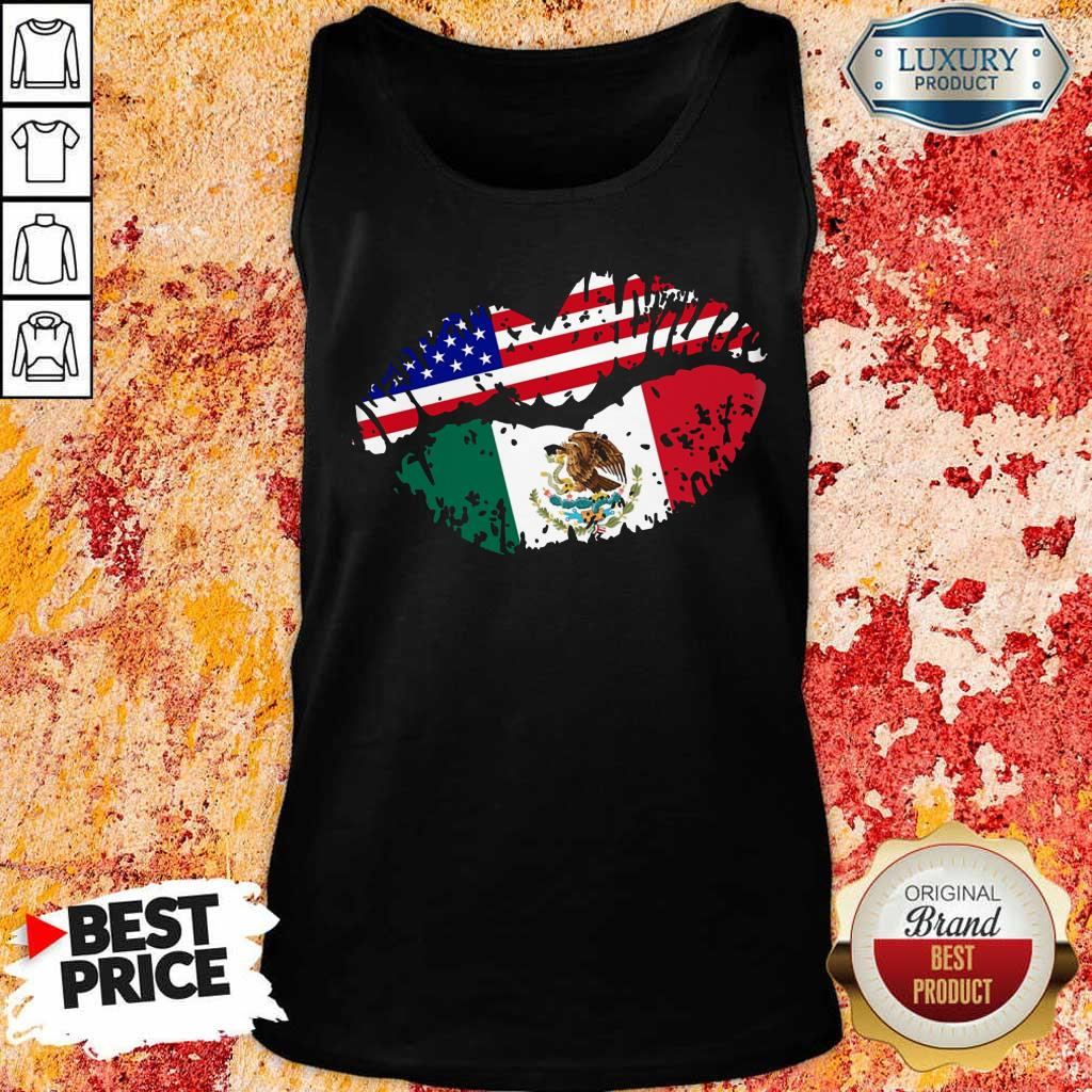 Us American Flag Mexican Lips Tank Top