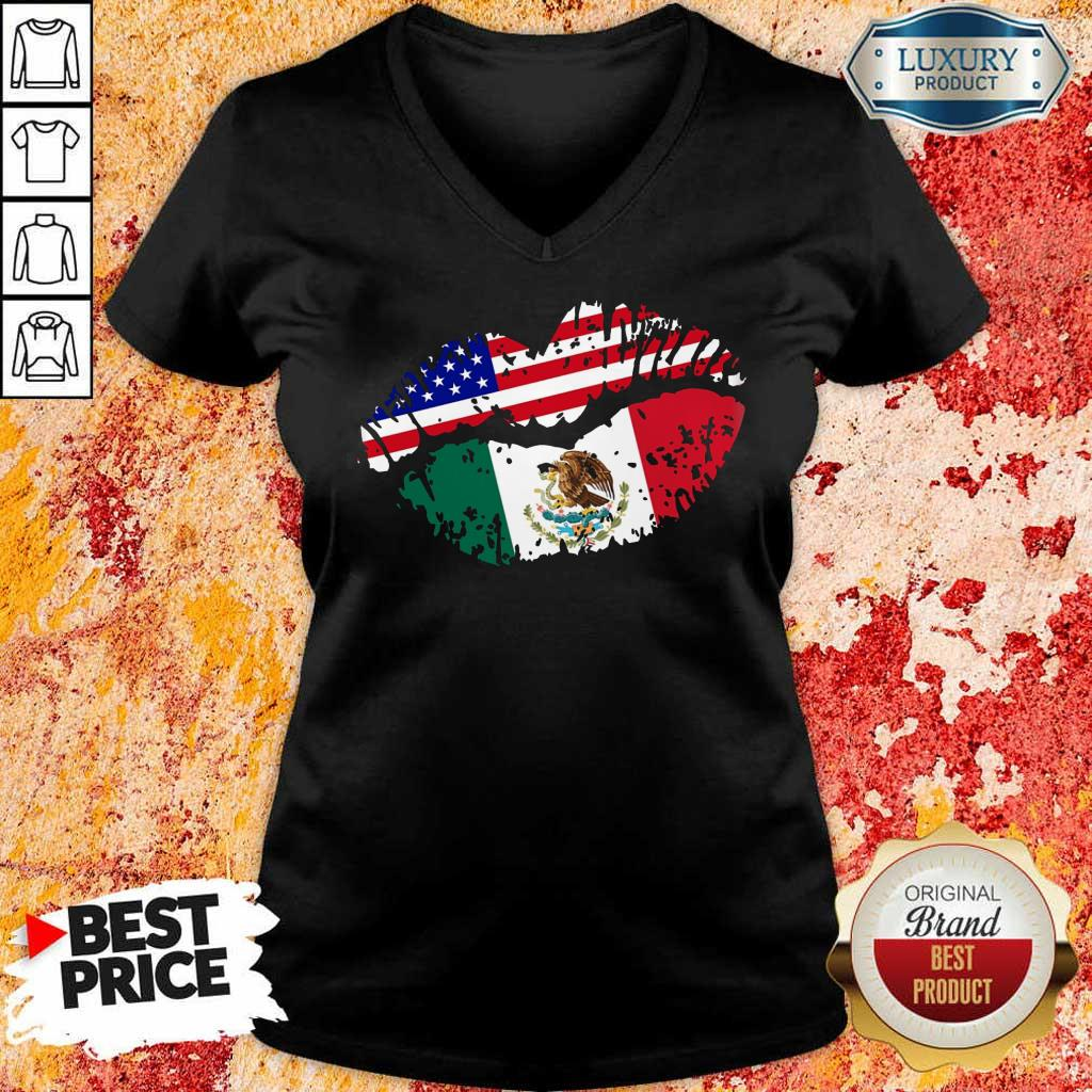 Us American Flag Mexican Lips V-Neck